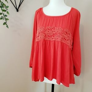 FLOWY BOHO APPLIQUE BALLOON SLEEVE TOP